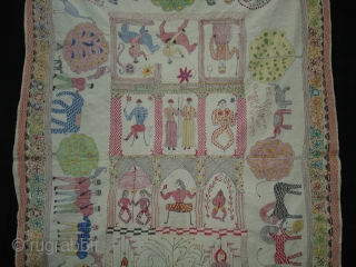 Kantha Quilted and embroidered cotton kantha Proper From Faridpur East (Bangladesh)Bangal region.Its size is 94cm x 143cm.Its written As Name of owner and Faridpur Banladesh.An Very very Rare kantha.(DSC07491)
