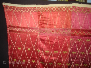 Thirma Wedding Bagh From West(Pakistan)Punjab.India. Embroidery Of this Bagh may have been imitating the Point of Mountain-like motif of ikat weaving(DSC05131 New).