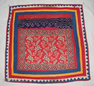 Manchester Print, Roller Print(Cotton)Chakla, with Appliqued work border From Manchester England,Made for Indian Market. India.Its size is 95cmX95cm(DSC02022 New).