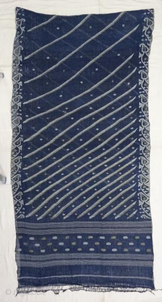 Dhakai Jamdani Saree Indigo blue Natural Colour, Cotton with Real Zari weaving From Dhaka District, of Bangladesh. India. Jamdani was originally known as Dhakai named after the city of Dhaka, Jamdani is  ...