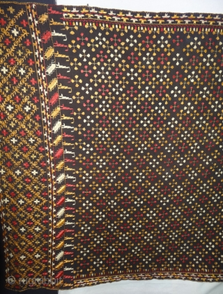 Phulkari From East(India)Punjab Region of India. India.Silk on Brown-soil colour, Hand Spun Cotton ground.C.1900(20180504_151236).