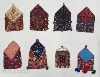 Eight different region Dowry Bujki Bags From North-West region of India and Pakistan, India.Cotton Embroidered with Silk(164457).