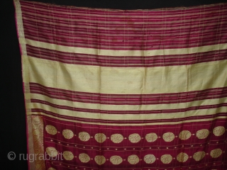 Dupatta handwoven fuchsia silk with zari (Real Silver) from Varanasi, Uttar Pradesh , India. C.1900. Good condition. Its size is 178cmX238cm(DSC05626 New).