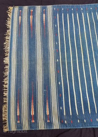 Indigo Blue,Jail Dhurrie(Cotton)Blue-White striped with mahi motif. Bikaner, Rajasthan. India.C.1900.Its size is 114X196cm. Condition is very good(151503)