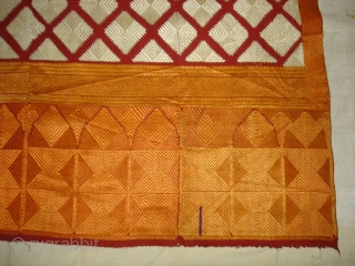 Phulkari From West(Pakistan)Punjab.India.known As Chand Bagh.This were mainly used as Woman's head-cover(bagh).Showing the Beautiful Mehrab(Prayer Arch)Design In the Borders.Very Rare Design Bagh(DSC08680 New).