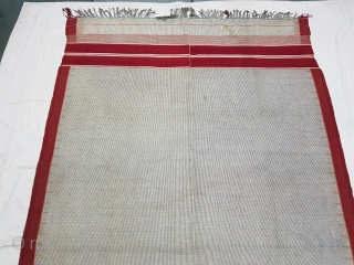 Waziri Shawl for Man From Waziristan, Pakistan. India.C.1900.Natural Dye with Hand Woven Cotton and silk ends,with silk end borders.Its size is 132cmX235cm(20180708_155345 New.