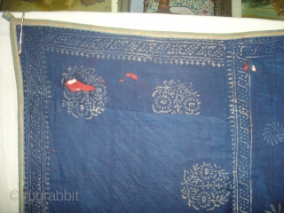 Indigo Blue Pichwai of Krishna and the cows From Gujarat India.Made from Silver Tinsel on Indigo Blue Malmal Cloth.C.1900.Its size is 160cmX162cm(DSC09512 New).