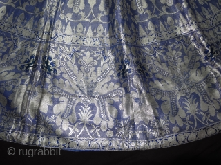 Zari (Real Silver)Brocade Skirt(Ghaghra)From Varanasi,Uttar Pradesh. India.Known As Marvadi Ghaghra.Its size is L-100cm circle is 476cm. Please ask for more detail Pictures(151712).