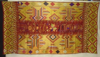 Phulkari From East(India)Punjab India.Known as Sar Pallu Phulkari. Showing the Folk Culture of Punjab.C.1900. Its Size is 128cmX230cm(DSC03935 New).
