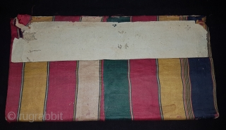 Mashru Book Cover,silk warps,cotton wefts,warp ikat,satin weave Mashru from Kutch, Gujarat.India.C.1900.Its size is 15cmX30cm. very rare kind of Mashru (3A&3B).