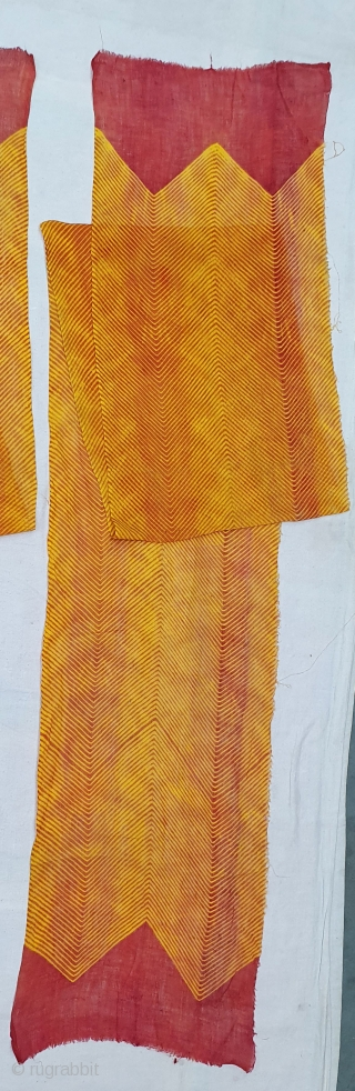Rarest Turban (Safa) Family Collection of Four Pieces, Muslin Cloth tie-dyed in Yellow Turmeric colors in lahariya (wave) style, From Nagure District of Rajasthan. India. c.1900(20200722_135754).