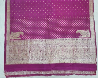 A Very Large Pitambari,Naksha Jala Kadwan Ambi Butta Palla Butidar Saree , Real Zari Silver threads with gold polish weaving on the silk,From Varanasi ,Uttar Pradesh, India. c.1900. Made for South-Indian Market.Top  ...