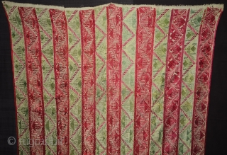 Thirma abstract Bagh-Phulkari From West(Pakistan)Punjab. India. Known As Wedding Thirma Bagh. Rare Influence of showing the flowers garden of Punjab. c.1900. Its size is 131cmX250cm(DSC07974).