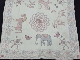 Very Rare Folk Kantha Fine Quilted and embroidered cotton Kantha Probably from Jessore Region of  East (Bangladesh) Bengal region of India, India. C.1850 -1875 Its size is 81cmX81cm(20210801_181133).