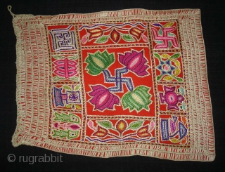 Jain Shrine cloth Ashtamangal, Mochi embroidered Silk on wool, From Gujarat,India.Its Its size is 27x34cm.C.1900. Condition is very good(DSC08909 New).