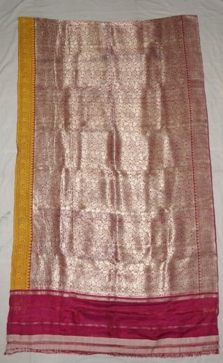 Ashavali Real Zari Silk BrocadeSaree (Sadlo). From Gujarat. India. C.1900. This Specialmotifs (Design) known as Jangla motif (All-Over-Patterning) Its size is 117cmX420cm (DSC08023).