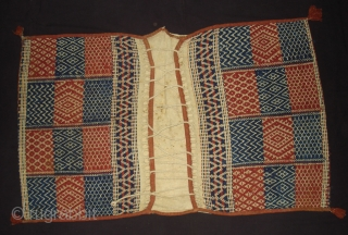 Donkey Saddle bag,A bound weaving of thick cotton,used as a salt sack,From Saurashtra Gujarat India.Its size is 75cmX120cm(DSC04355 New)