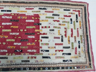 Quilt Embroidered and Printed Patch work,From Dwaraka Region of Saurashtra Gujarat. India.very fine quilted and Patch work.Rare kind of Piece.Its size is 70cmX140cm(160108).