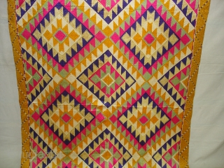 Phulkari From West(Pakistan) Punjab.India.Known As Panchrangi Bagh With Rare influence of Shisha Design with beautiful colour combination of Panchrangi Colours,C.1900.Very Rare kind of Phulkari(DSC08996 New).