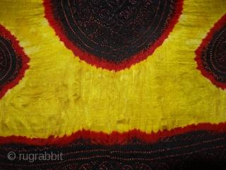 Ceremonial Tie and Dye Odhani known as Kumbhi,Tie and Dye Work on the Gajji-Silk From Kutch Region of Gujarat, India. C.1900. Its size is 145cmX160cm(DSC03619 New).