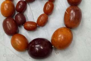 Amber Necklace 37 Beads Kutch Gujarat India.C.1900,Its Weight is 122 Gram. Good condition(DSCO0905 New).