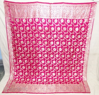 Dupatta Handwoven Silk with Real zari (Real Silver) from Varanasi, Uttar Pradesh, India. c.1900. Good condition. Its size 182cmX218cm(DSC08179).