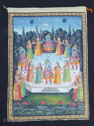 Raas-Leela Pichwai  From Nathdwara Rajasthan, India. India. Painted On the Cotton, Pigments Painted Heightened With Gold.   The rasa lila takes place one night when the Gopis of Vrindavan, upon hearing the  ...