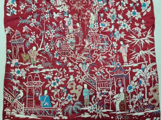 Cheena-Cheeni no Jhabloor Jhablo (Blouse) of Parsi Community From Surat Gujarat India. The pattern Elements of this Jhabla is relatedto a folk Tale.The garden sceneis filled with repeats of a varietyof flowering trees,  ...