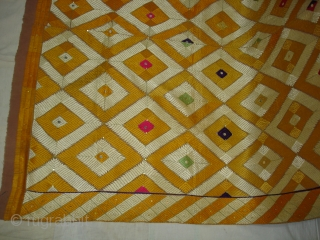 Rare Design Phulkari From West(Pakistan)Punjab. India. Showing the Rare influence of Mirrors and Zari work,Floss silk on hand spun cotton ground cloth(DSC03930).