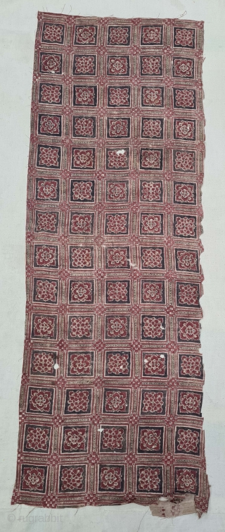 Floral Chintz Kalamkari Fragment Hand-Drawn Mordant-And Resist-Dyed Cotton,From Coromandel Coast South India. India. C.1725-1750. Exported to the European (Dutch Market) Market. Its size is 36cmX100cm(20210905_171639).