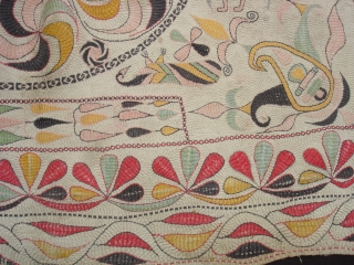 Kantha Quilted and embroidered cotton kantha Probably From East Bengal(Bangladesh) region, India.C.1900.Its size is  68mX 84cm. Very Good Condition(DSC06260 New).