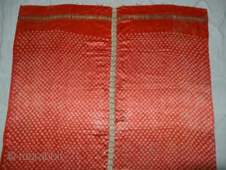 Khoja bandhni (Tie and Dye) Odhani on Gajji-Silk with Real Zari Border,This Particular bandhni is from south Kutch, Kutch Gujarat, India. Its size is 108cmX185cm. C.1900.Very rare type of Tie and Dye  ...