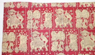 Maharaja Indian Roller Print Book Cover(Cotton),For the holy Book, From Ahmedabad Gujarat, India Roller Printed on Cotton.C.1900.its size is 100cmX103cm(DSC08270).