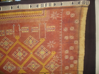 Odhani Bishnoi Shawl From Shekhawati District of Rajasthan, India. Odhani Showing the various Chopat design on cotton Khadder (Village Khadi)cloth with natural colours,This were traditionally used mainly by Bishnoi Group of Shekhawati  ...
