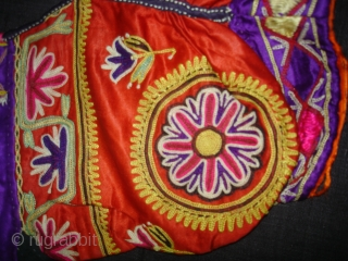 Ceremonial (Mochi Embroidery) Women's Blouse (Kapada) Fine Chain Stich Silk Embroidery on silk From Kutch Gujarat India.This were Traditionally used mainly Ahir Community of Abdasa Kutch Gujarat India.C.1900(DSC00623).