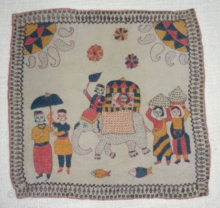 Folk Kantha Quilted and embroidered cotton kantha Probably From East Bengal(Bangladesh) region, India.Its size is 40cmX42cm(DSC07143).