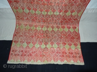Thirma Phulkari From West(Pakistan)Punjab. India. Known As Wedding Thirma Bagh. Rare Influence of showing Peacock feather Design in Chawal Buti work. C.1900. It is made of hand spun, hand woven cotton on  ...