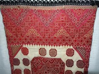 Phulkari Swatti Shawl From the Swat region of Pakistan. India.Silk embroidery on cotton,Circa Mid-19th Century.Its size is 113cmX235cm(DSC07182).