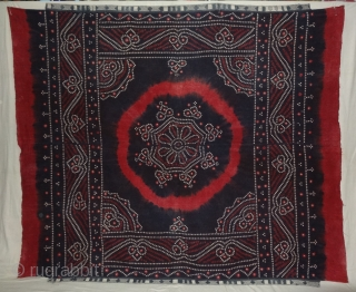 Indigo Blue, Single Bandh Tie and Dye Odhani From Shekhawati District of Rajasthan. India.Its Very rare Single Bandh Tie and Dye Odhani. Natural Indigo blue Colours On the Khadi Cotton cloth.C.1900.Its size  ...