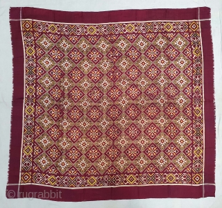 Very Rare Ceremonial Patola Rumal, Silk Double ikat. Probably Patan Gujarat. India.C.1900. Very Different design and different color combination. Its size is 100cmX111cm (20201002_145921).