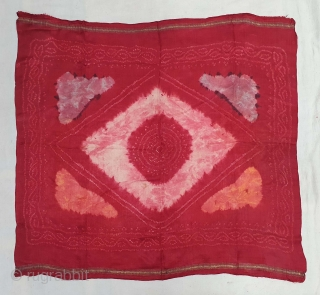 Ceremonial Tie and Dye Rumal, Tie and Dye Work on the Gajji-Silk From Kutch Region of Gujarat, India. c.1900. Its size is 72cmX80cm. This were Traditionally used mainly by Muslim Khatri community  ...