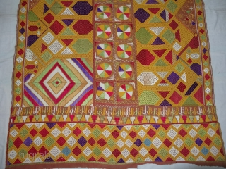 Phulkari From East(Punjab) India.Known as Darshan Dwar. Handspun cotton plain weave (khaddar) with silk and cotton embroidery,Showing the Folk Culture and Art of Punjab. Its size is 125cmX210cm(DSC03975 New).
