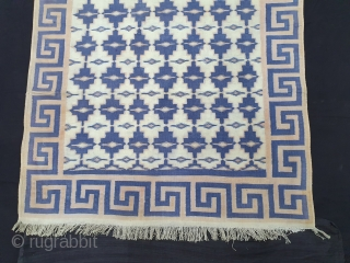 Geometric Design Jail Dhurrie(Cotton)Tiles Design with Key Pattern Design border.From Gujarat. India.C.1900.Its size is 114X2085cm. Condition is very good(125937).