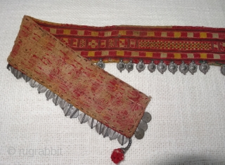 Rare Ceremonial Banjara Belt From Karnataka,South India. India.Embroidered on cotton. Banjara Belt  is traditionally used by women. C.1900. Its size is 6cmX58cm(DSC07218).