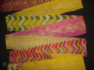 Panch Rangi (Five Colours) Multi-Colour, Multi-Design,Lahariya Tie and Dye Mothara Turban From Sekhawati District of Rajasthan. India.Its size is near by 10 to 12 miters(DSC06593).