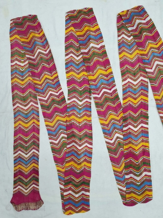 Muslin turban cloth tie-dyed in multiple colours in lahariya (wave) style, From Sekhawati District Rajasthan. India. c.1900. Its size is near by 6 to 8 miters(20201027_124944).