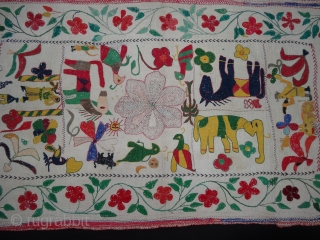 Folk Kantha Quilted and embroidered cotton kantha Probably From West Bengal(India) region,India.Its size is 53cmX98cm(DSC04072 New).