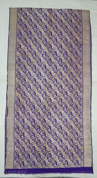 Pitambari Saree, Real Zari Silver threads with gold polish weaving on the silk,From Varanasi ,Uttar Pradesh, India. C.1900. Top condition.Its size 112cmX450cm(20191105_151148).