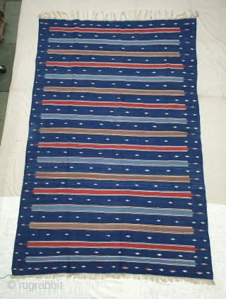 Indigo Blue,Jail Dhurrie(Cotton)Blue And Multi Colour double minaret striped Dhurrie with feathered diamond.From Bikaner, Rajasthan. India.C.1900. Its size is 165X256cm (Large size). Condition is very good(20191015_111144).