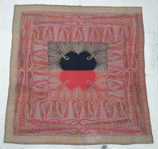Sikh Period Jamawar Square Shawl (Rumal) From Kashmir, India. India. C.1870-1900.Its Size is 186cmX190cm(20191114_131553).